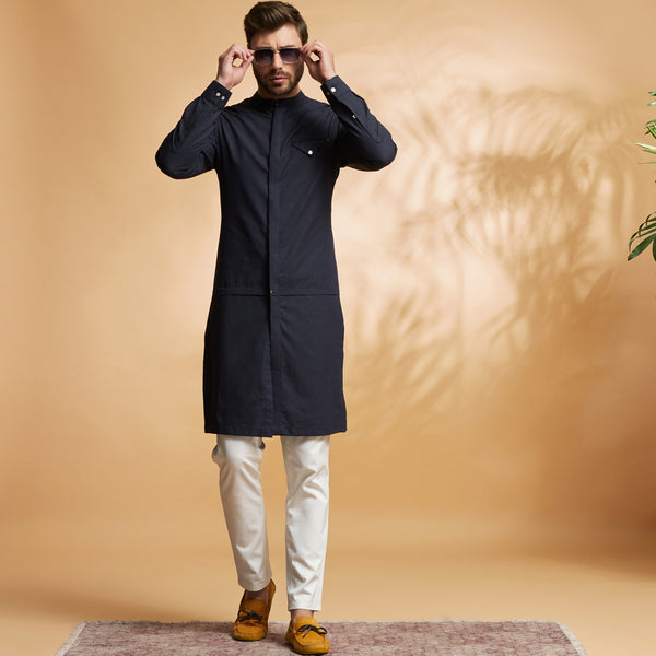 The Dobby Navy Kurta