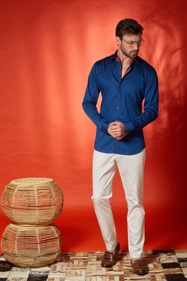 Indigo blue with Salmon Shirt