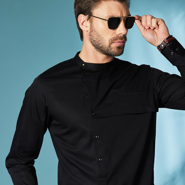 Asymmetric Black Shirt