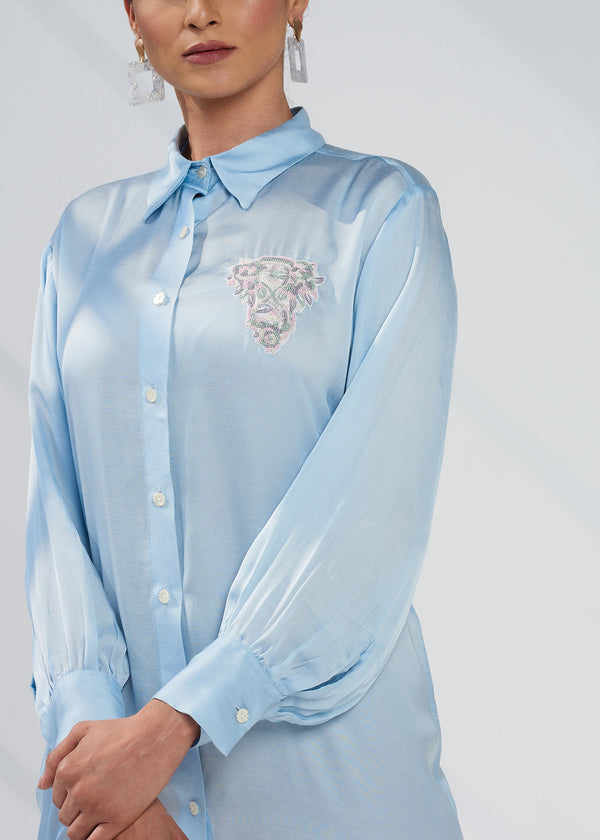 SKY EMBELLISHED SATIN SHIRT