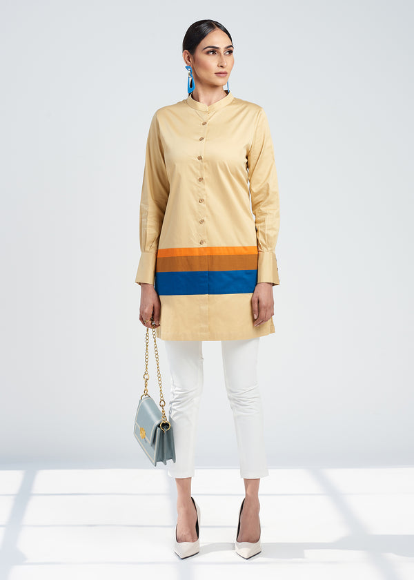 BEIGE COLOR BLOCK SHIRT