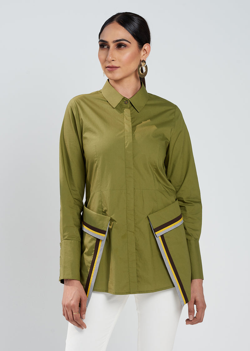 Olive Abstract Top