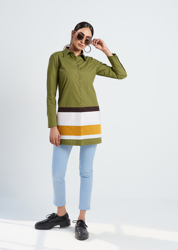 OLIVE COLOR BLOCK LONG SHIRT