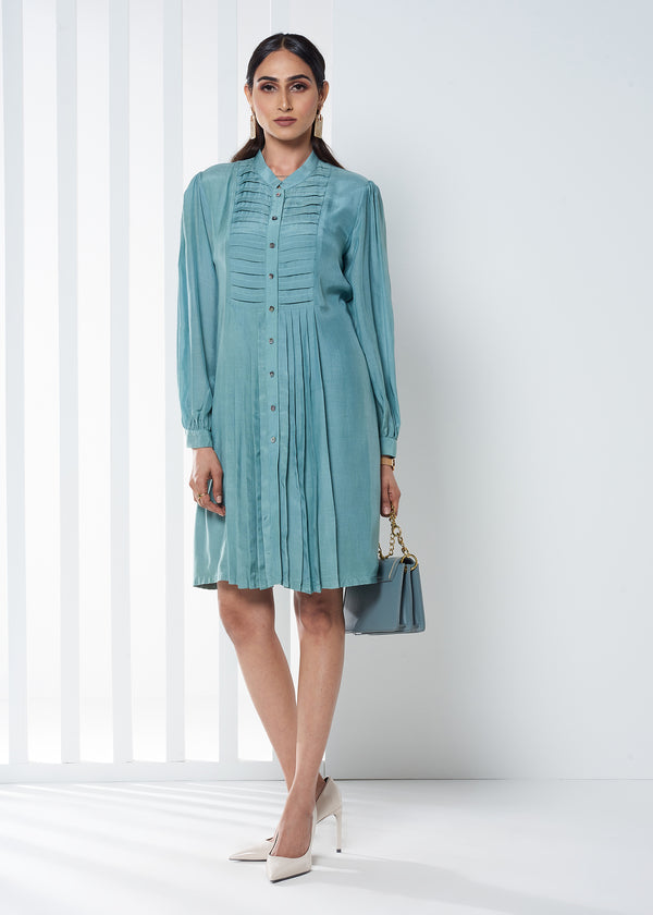 PLEATED TEAL DRESS