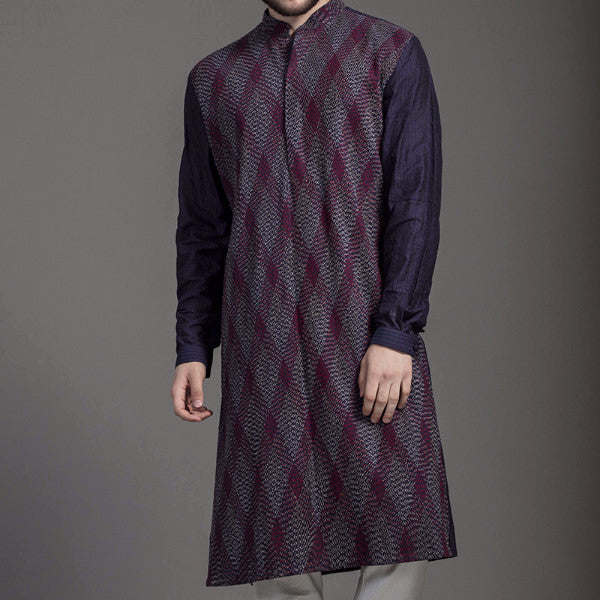 Navy Textured Kurta