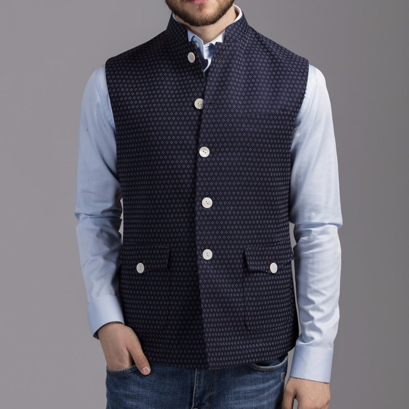 Blue Jacquard Jacket