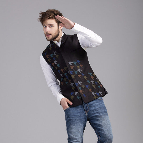 Houndstooth Nehru Jacket