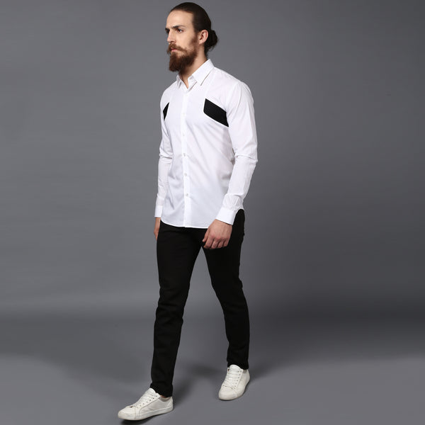 White Panelisation Cotton shirt