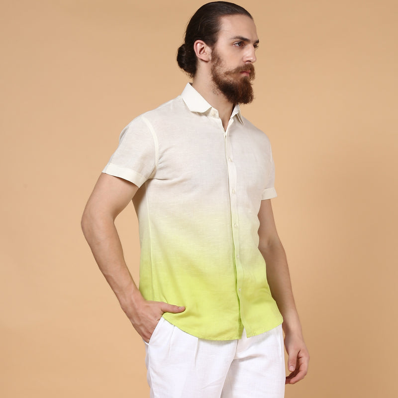 Lime Ombre-Dyed Linen Shirt