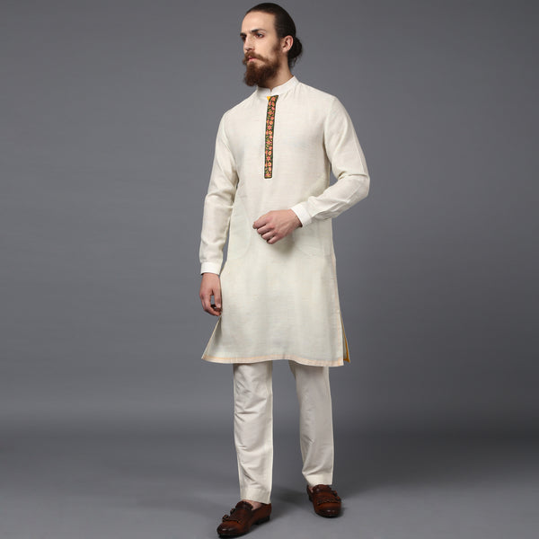 Embroidered Ivory Kurta