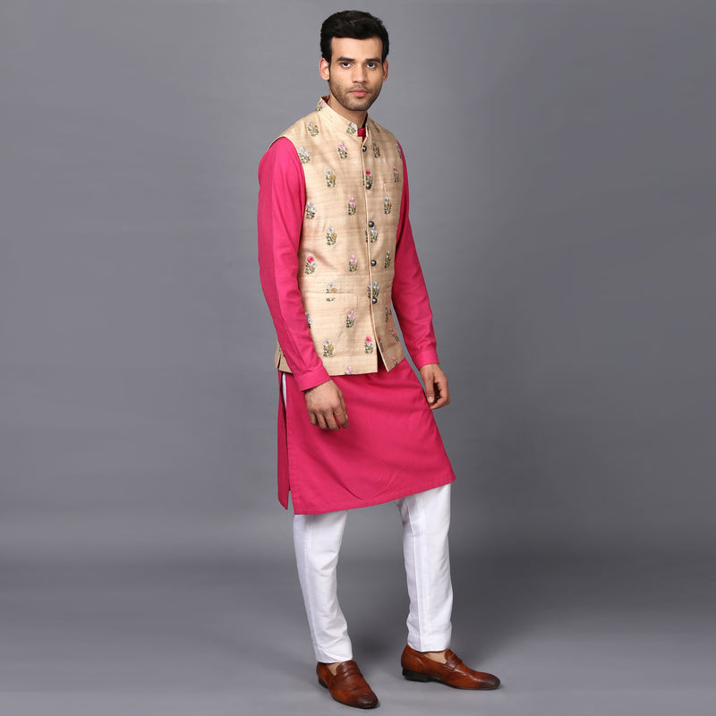 Classic Floral Embroidered Nehru Jacket