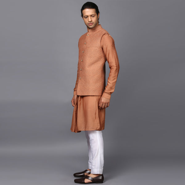 Quilted Tan Nehru Jacket