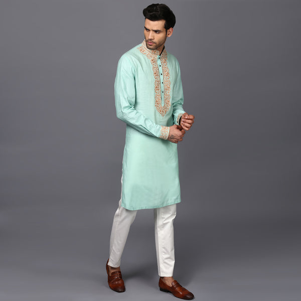 Pastel Green Embroidered Kurta