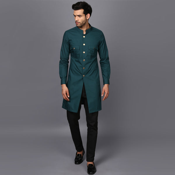 KURTA ACHKAN IN ENGLISH GREEN
