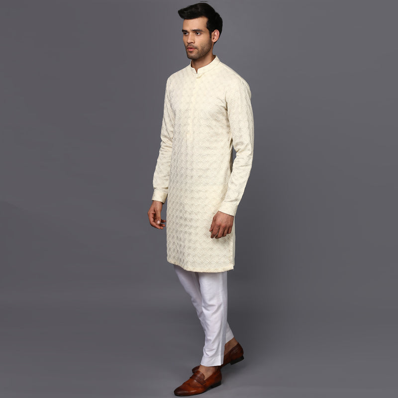 DOUBLE NEEDLE IVORY KURTA