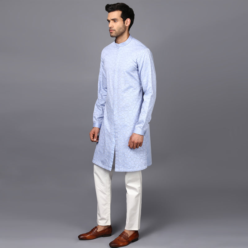 DOUBLE NEEDLE SKY KURTA