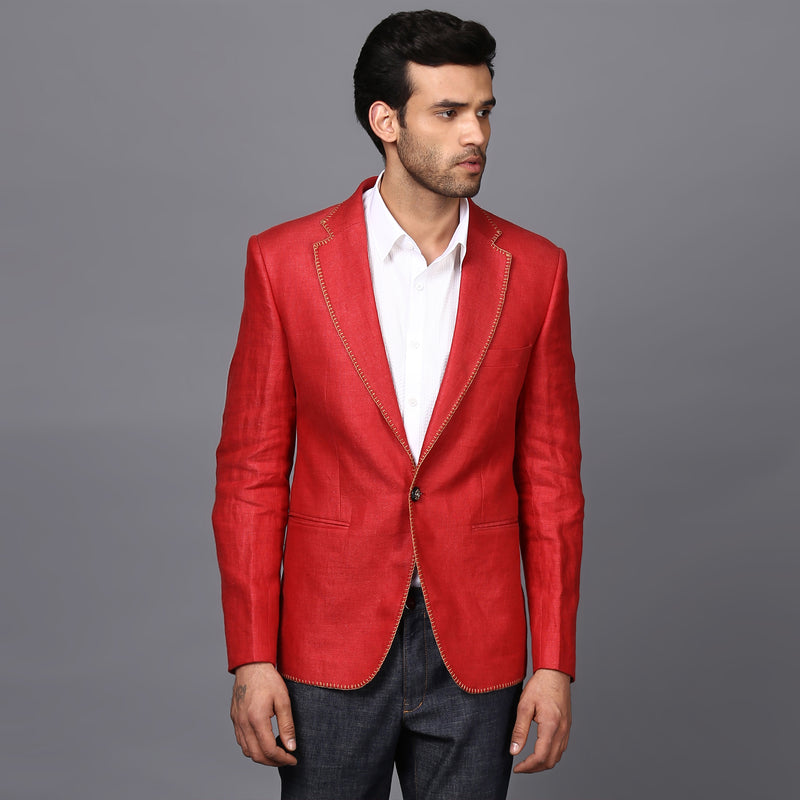 CLASSIC LINEN JACKET IN FERRARI RED