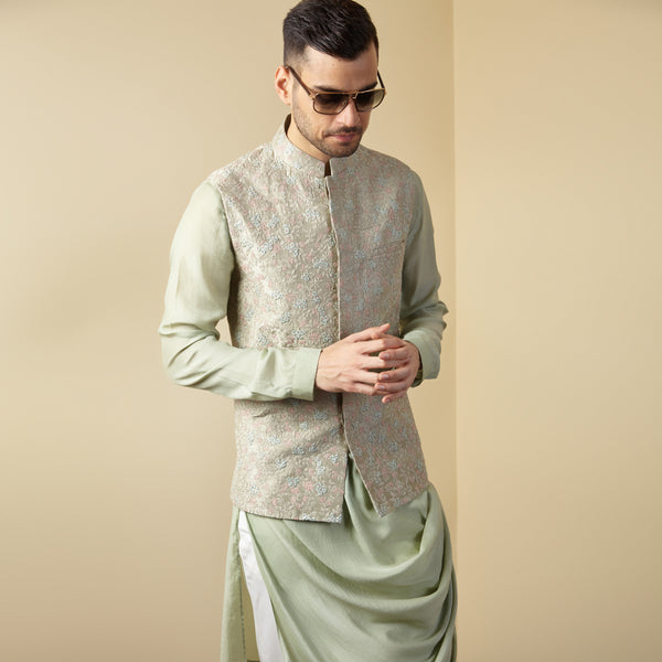 Embroidered Mint Nehru Jacket