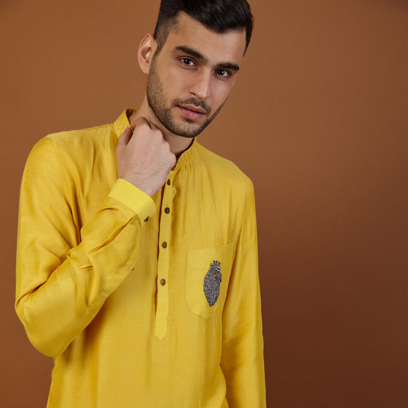 HEART KURTA IN YELLOW
