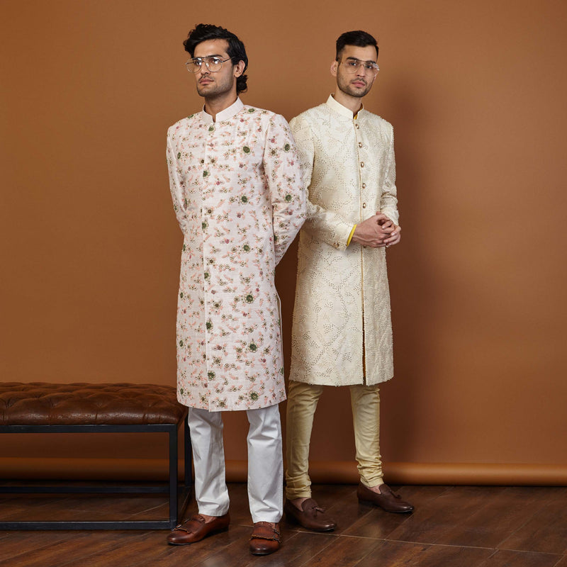 LINEAGE FRENCH-KNOT SHERWANI IN PINK