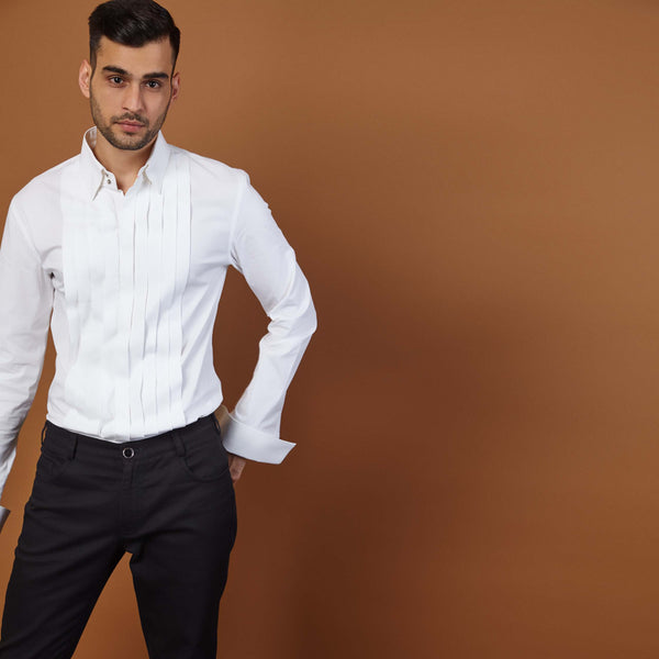 PLEATED TUX SHIRT