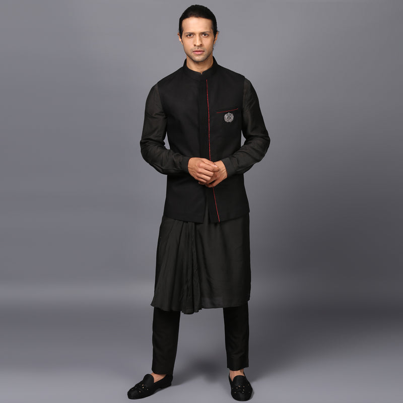 RAW-EDGED NEHRU JACKET