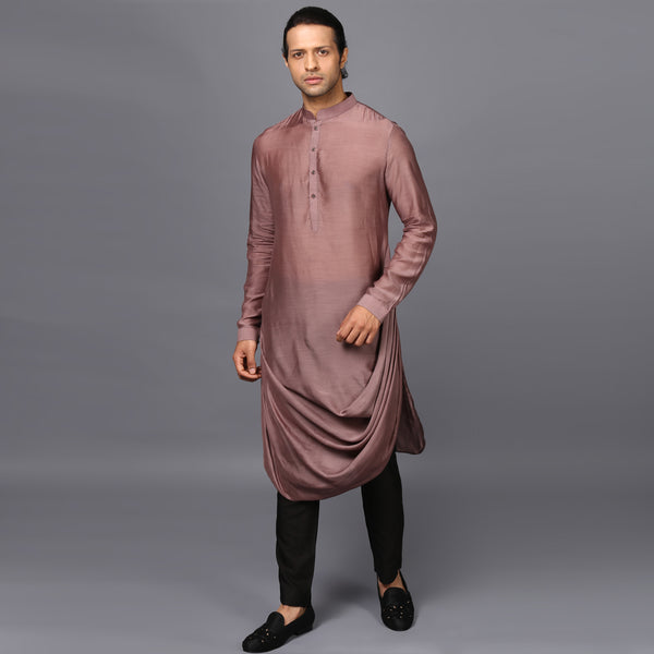 DRAPED KURTA IN NICKEL