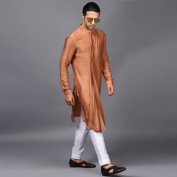 PLEATED DRAPE KURTA IN TAN