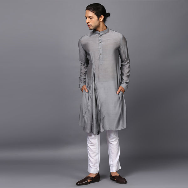 PLEATED DRAPE KURTA IN STEEL