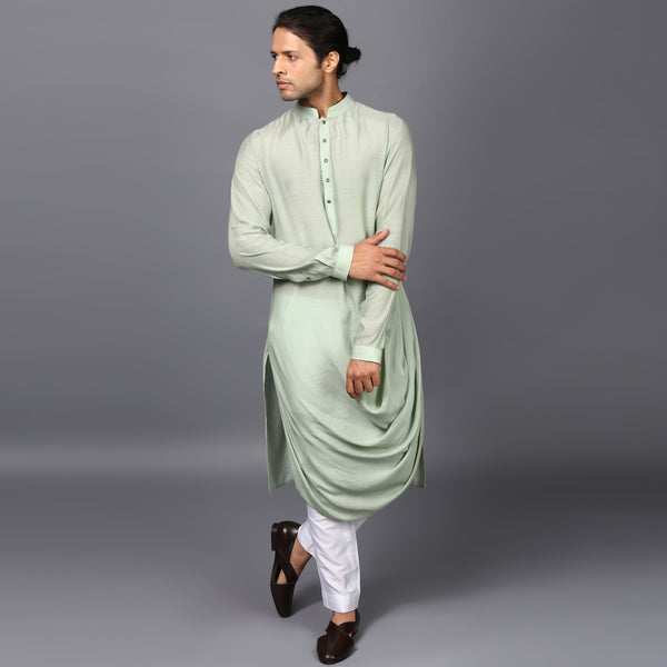 DRAPED KURTA IN MINT