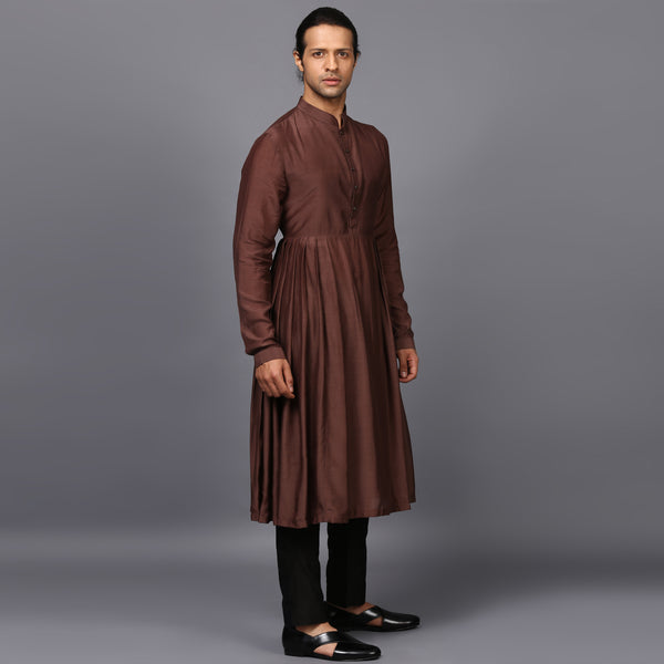 DRAPED KURTA IN BROWN