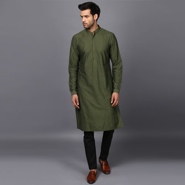 NIGHT SKY KURTA IN FESTIVE GREEN