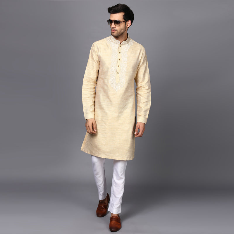 EMBRIODER SILK KURTA IN IVORY