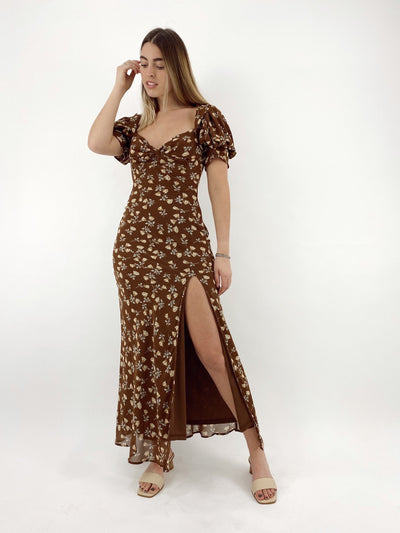 Fall Feelings Side Slit Floral Dress - Vamp Official