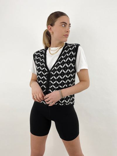 Flashback Button Front Patterned Sweater Vest - Vamp Official