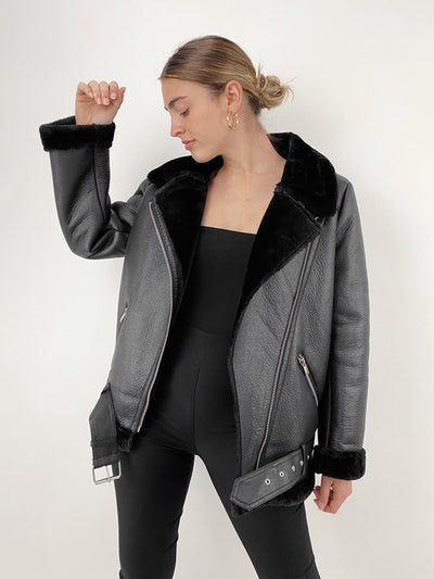 Girl Gang Faux Fur Lined Aviator Jacket - Vamp Official