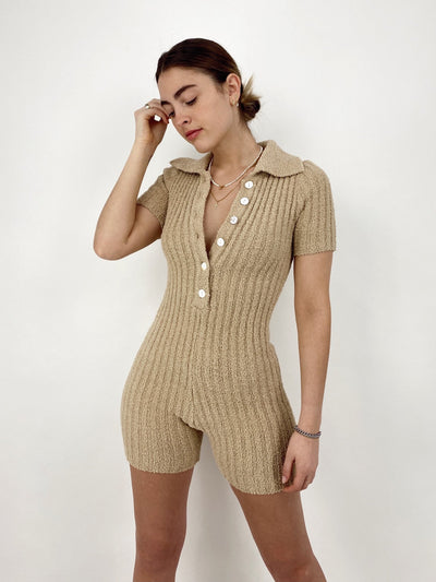 Heaven Sent Plush Ribbed Romper - Vamp Official