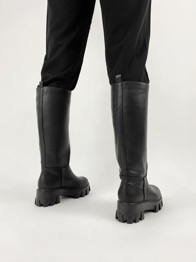 Hyde Park Faux Leather Knee High Boots - Vamp Official