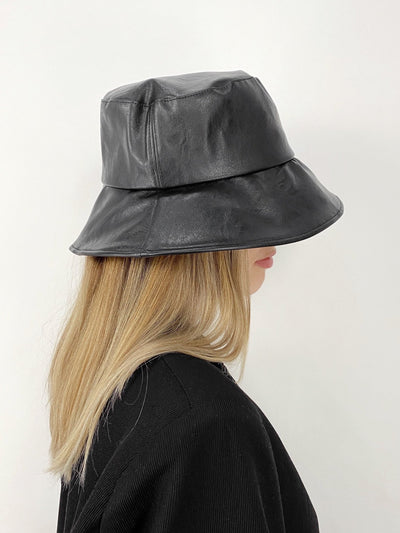 Midnight Hour Faux Leather Bucket Hat - Vamp Official