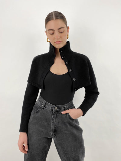 Midnight Rider Cropped Turtleneck Cardigan - Vamp Official