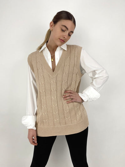 Mood Boost Nude Cable Knit Vest - Vamp Official