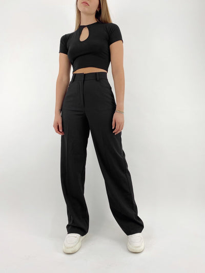 New Mood Wide Leg Suit Pants - Vamp Official