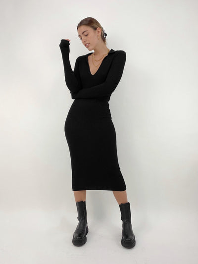 Off Duty Collar Knitted Midi Dress - Vamp Official