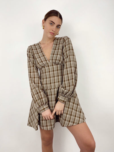 Off The Grid Plaid Printed Dress - Vamp Official