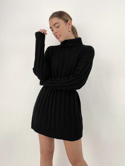 Plush Ribbed Knit Sweater Dress - Vamp Official