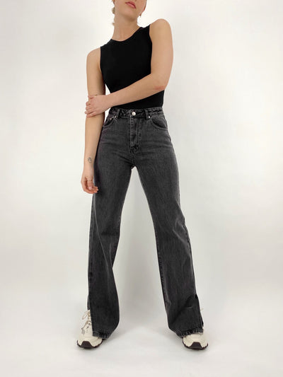 Rolling Stones Side Slit Denim Pants - Vamp Official