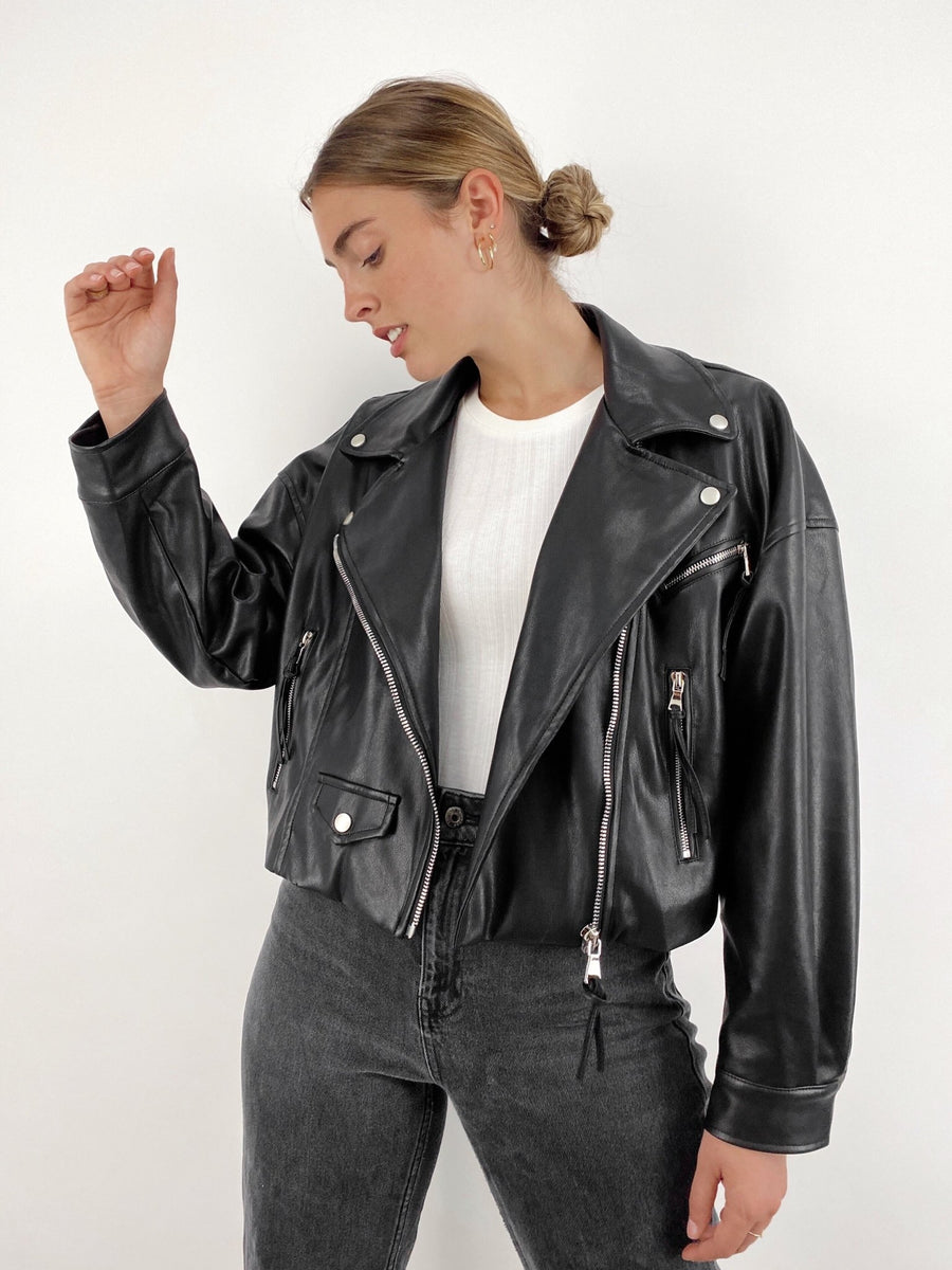 Rydell High Faux Leather Utility Jacket - Vamp Official