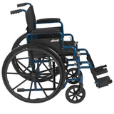 Drive Medical Blue Streak Wheelchair with Flip Back Desk Arms, Swing Away Footrests, 18 Inch Seat - Wheelchairs electric  -Rollators - Medical supply stores