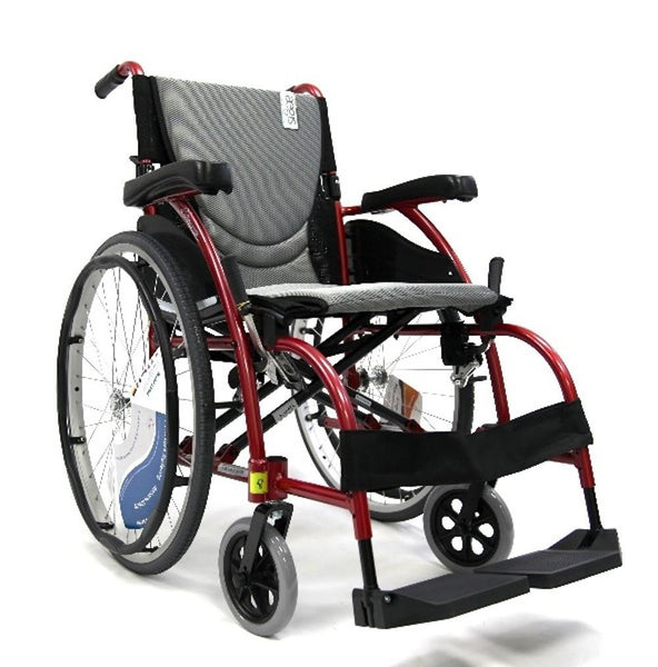 "S-Ergo 105 16"" seat Ergonomic Wheelchair with Fixed Footrest in Red,S-ERGO105F18RS - Wheelchairs electric  -Rollators - Medical supply stores"