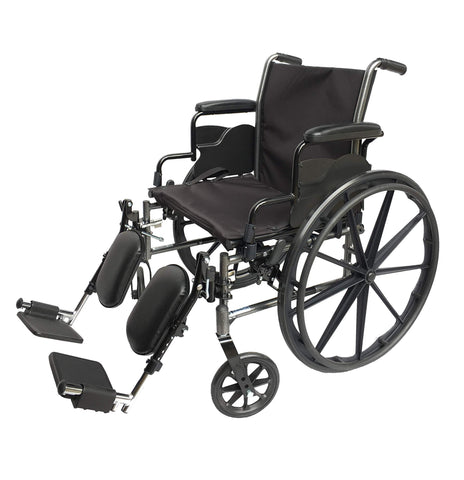 "Med-Elite Deluxe Wheelchair - Elevating Leg Rests - Desk-Length Arm Rests - Padded Nylon Seat (20"" Seat) - Wheelchairs electric  -Rollators - Medical supply stores"